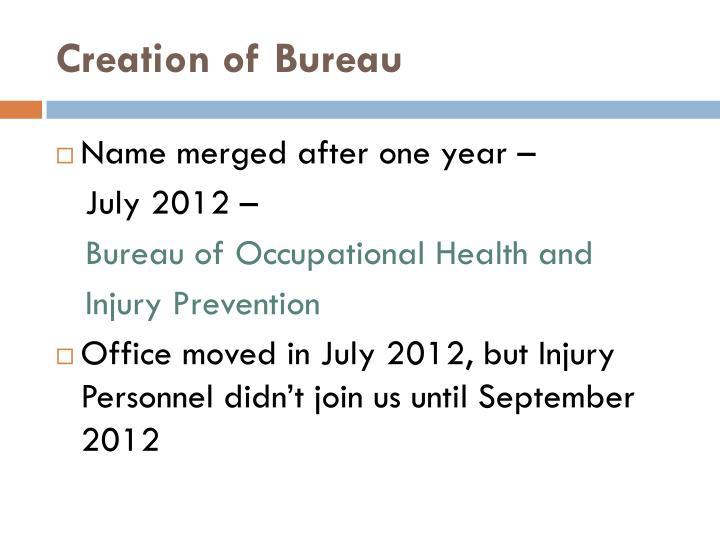 Creation of Bureau