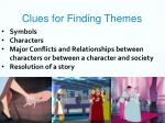 clues for finding themes