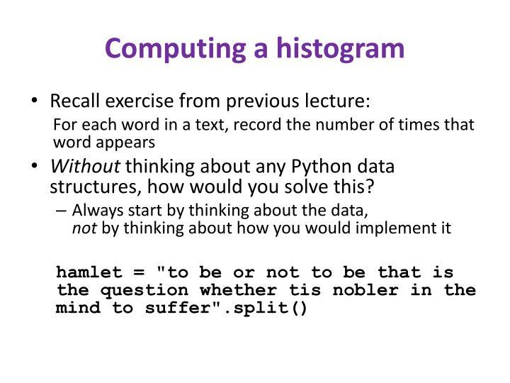 Computing a histogram