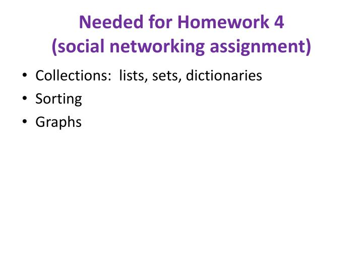 Needed for homework 4 social networking assignment