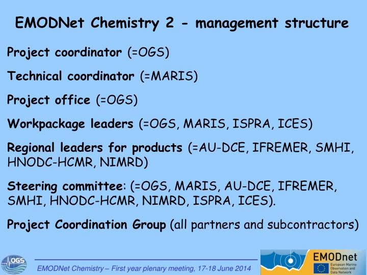 EMODNet Chemistry 2 - management structure
