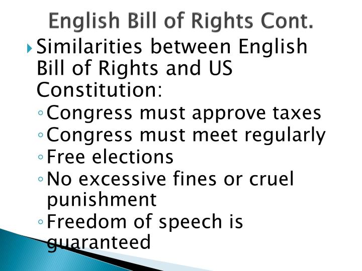 English Bill of Rights Cont.