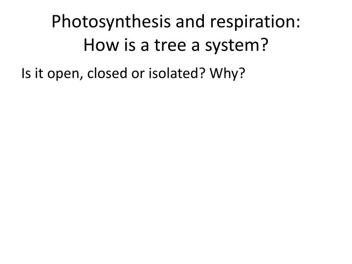 Photosynthesis and respiration: