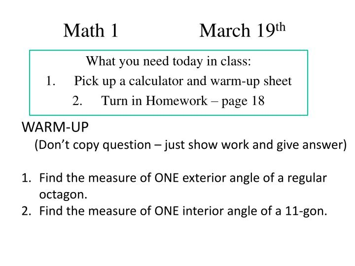 math 1 march 19 th n.
