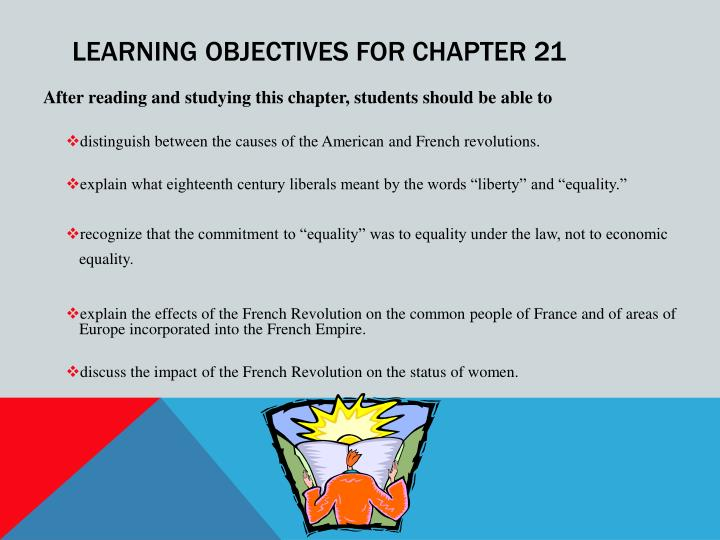 Learning objectives for chapter 21