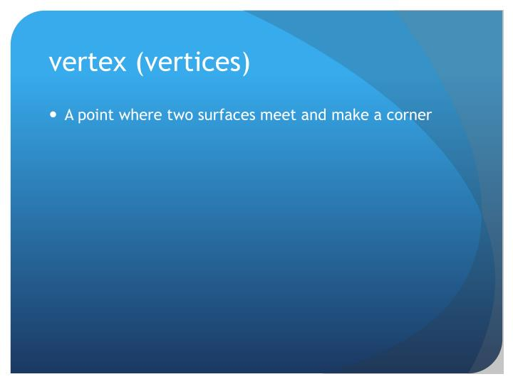 vertex (vertices)