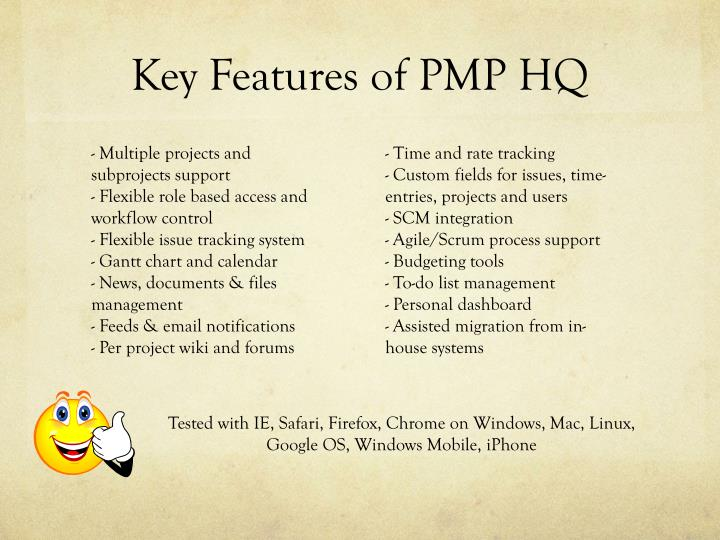 Key features of pmp hq