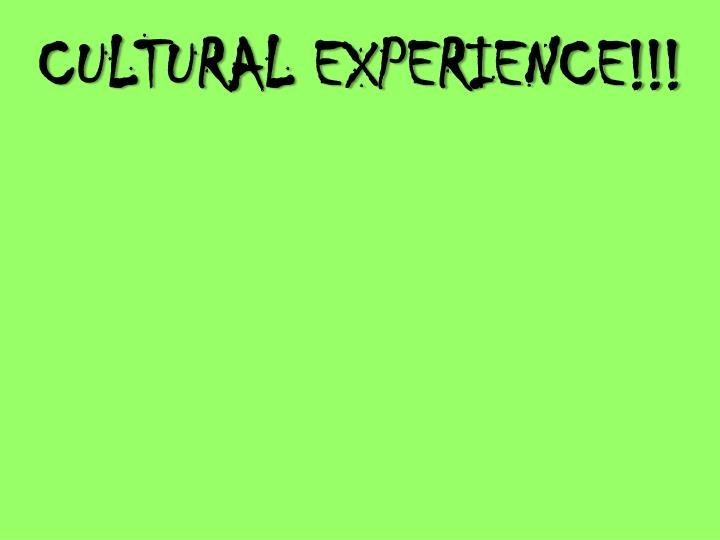 CULTURAL EXPERIENCE!!!