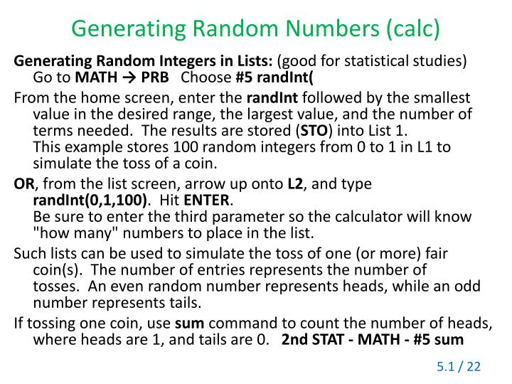 Generating Random Numbers (calc)