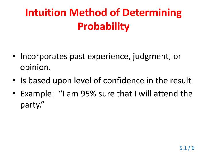 Intuition Method of Determining Probability