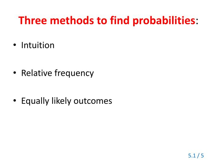 Three methods to find probabilities