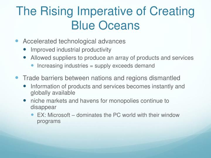 The Rising Imperative of Creating Blue Oceans