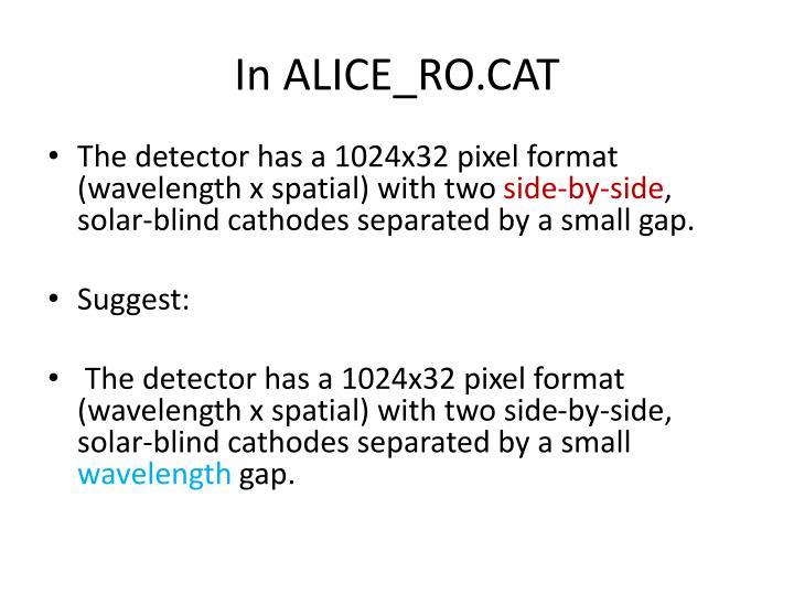 In ALICE_RO.CAT