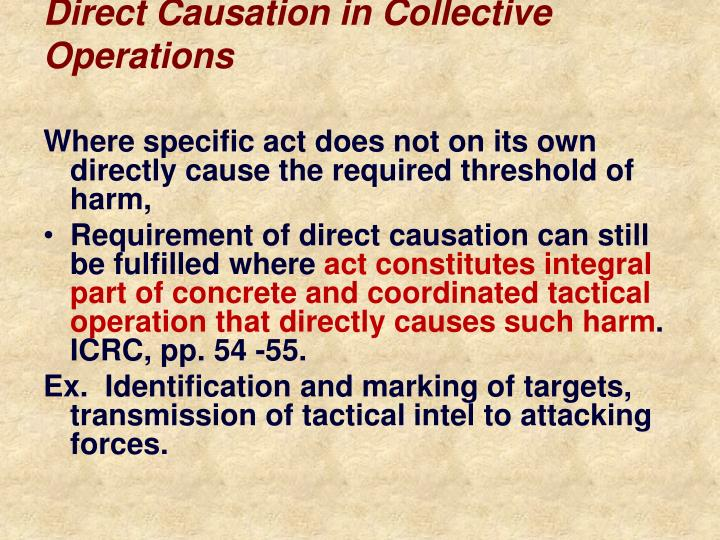 Direct Causation in Collective Operations