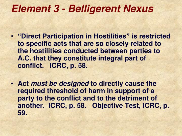 Element 3 - Belligerent Nexus