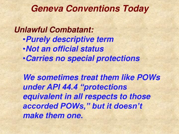 Geneva conventions today