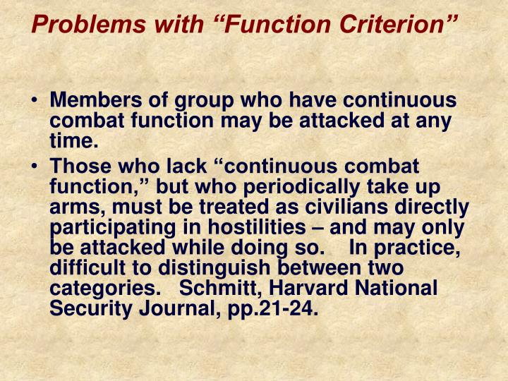 """Problems with """"Function Criterion"""""""