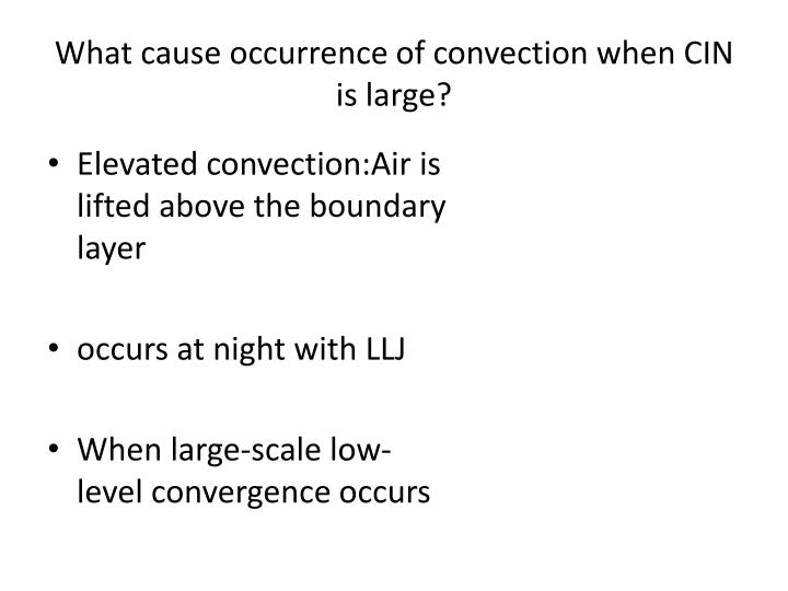 What cause occurrence of convection when cin is large