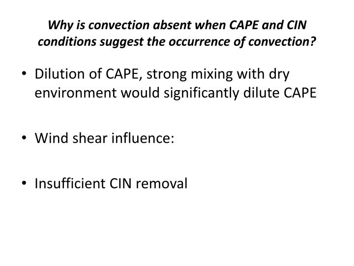 Why is convection absent when CAPE and CIN conditions suggest the occurrence of convection?