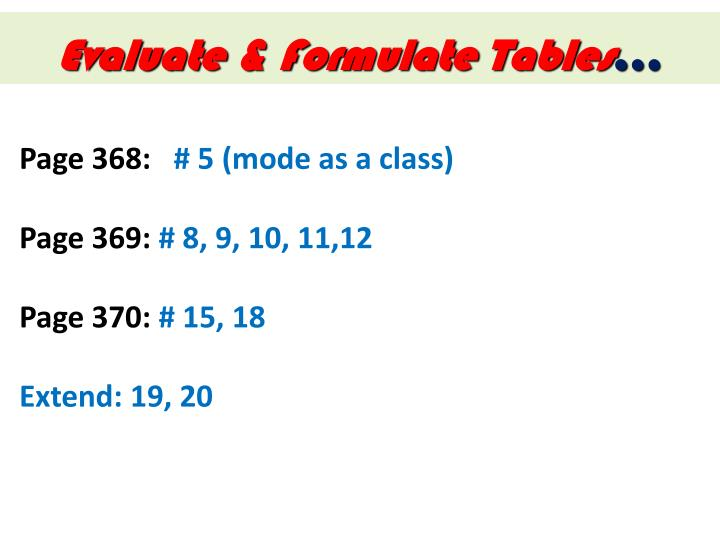 Evaluate & Formulate Tables