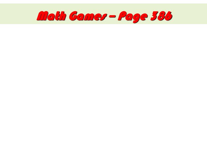 Math Games – Page 386