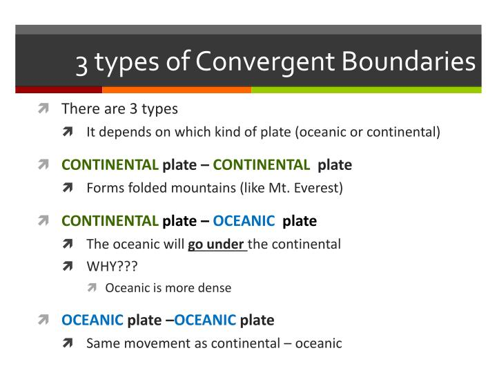3 types of Convergent Boundaries