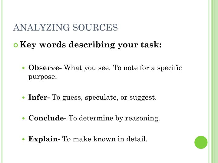 ANALYZING SOURCES