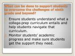 what can be done to support students to overcome the challenges of ninth grade and beyond
