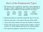 sizes of the fundamental types