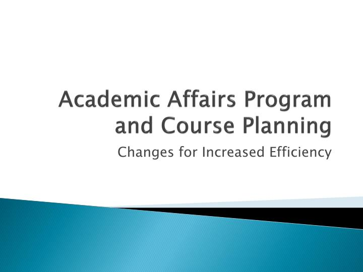 academic affairs program and course planning n.