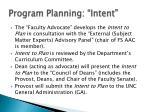 program planning intent