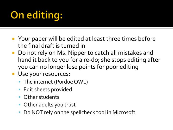 On editing: