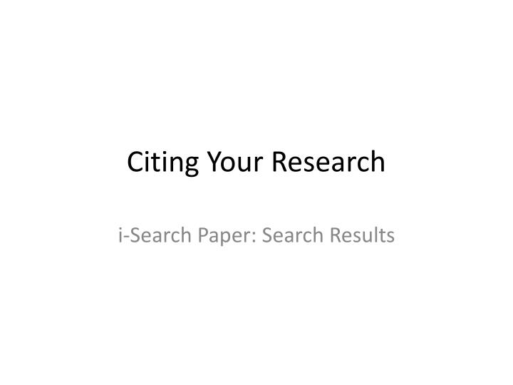 Citing your research