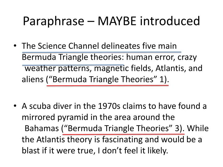 Paraphrase – MAYBE introduced