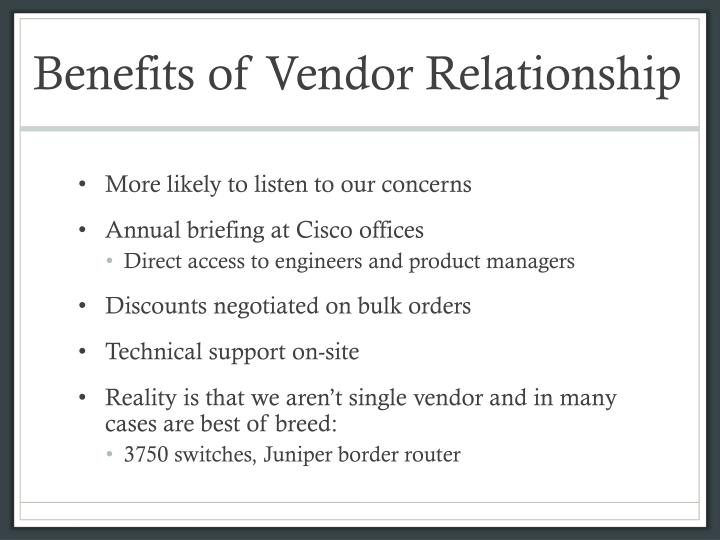 Benefits of Vendor Relationship