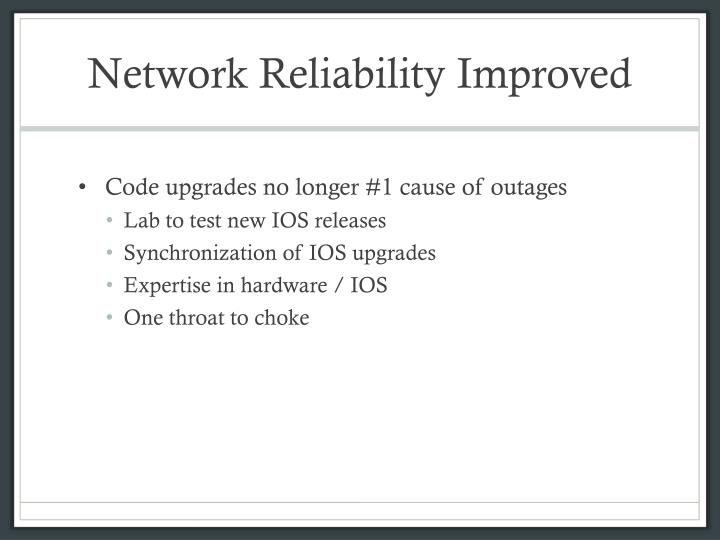 Network reliability improved