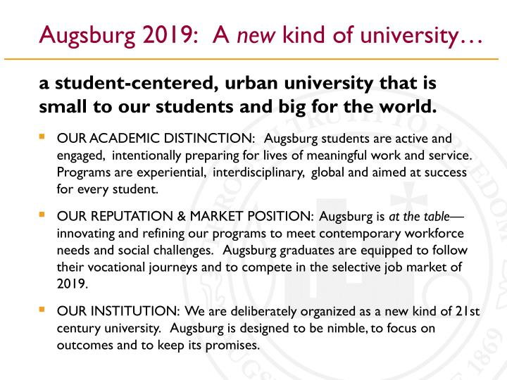 Augsburg 2019 a new kind of university