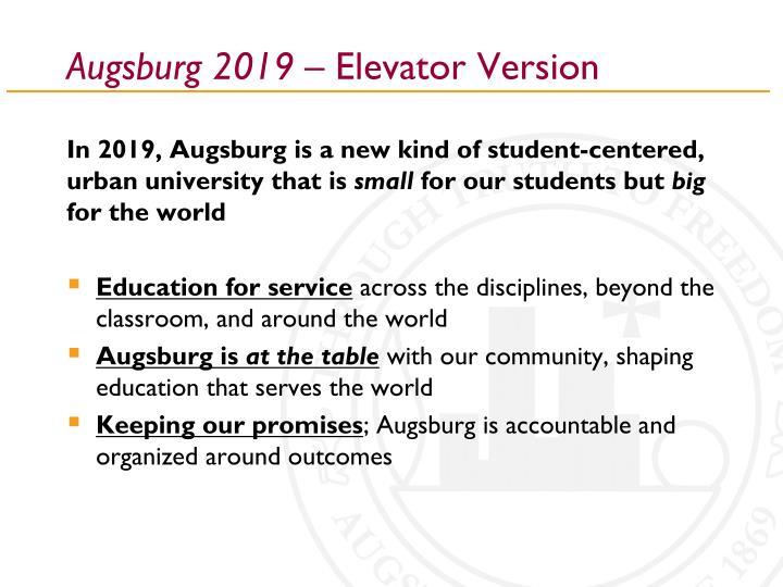 Augsburg 2019 elevator version