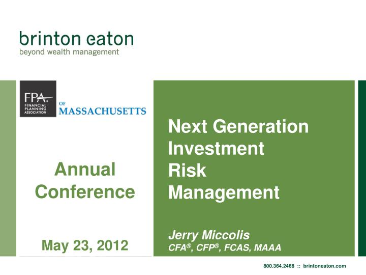 next generation investment risk management n.