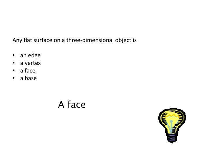 Any flat surface on a three-dimensional object is