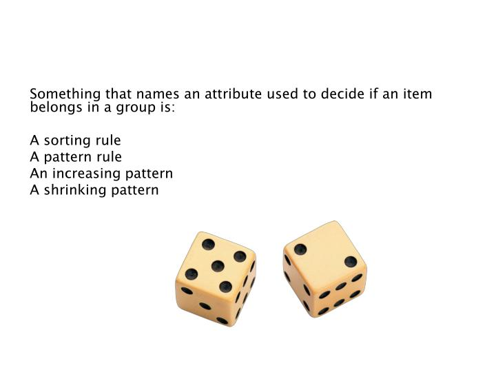 Something that names an attribute used to decide if an item belongs in a group is: