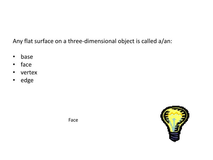 Any flat surface on a three-dimensional object is called a/an: