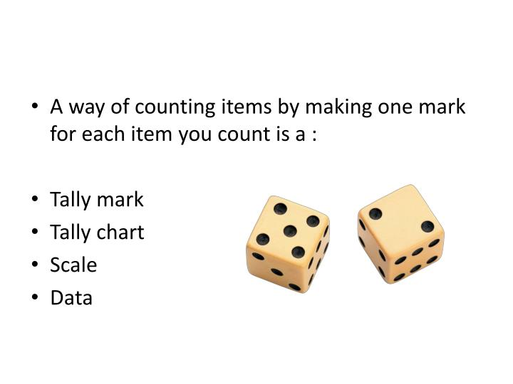A way of counting items by making one mark for each item you count is a :