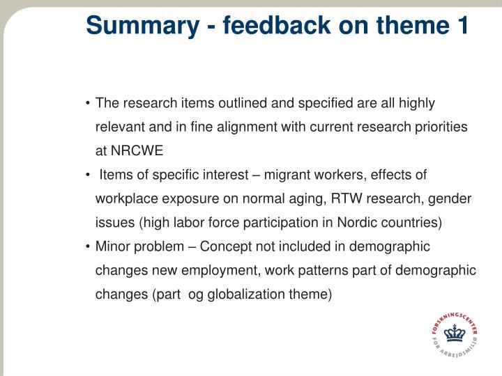 Summary - feedback on theme 1