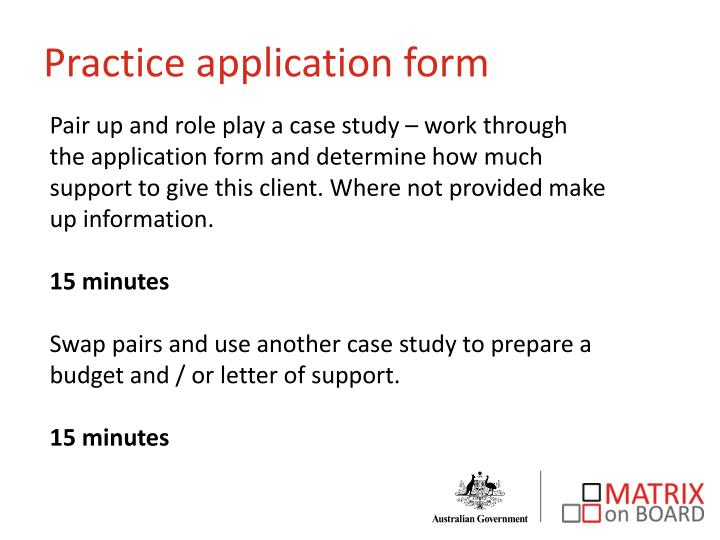 Practice application form