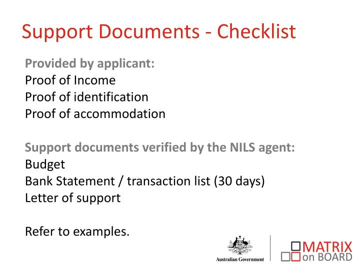 Support Documents - Checklist