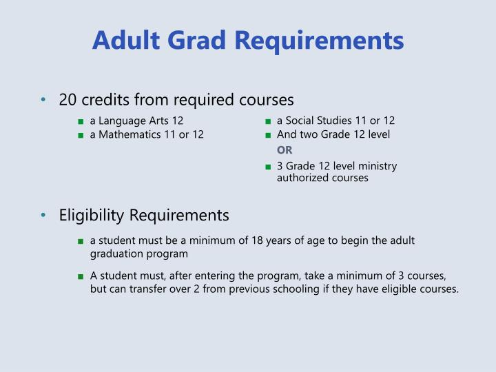 Adult Grad Requirements