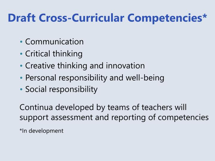 Draft Cross-Curricular Competencies*
