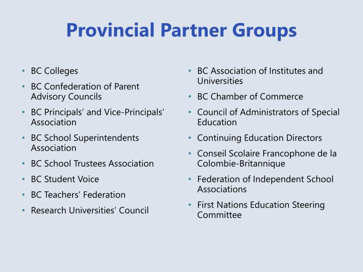 Provincial Partner Groups