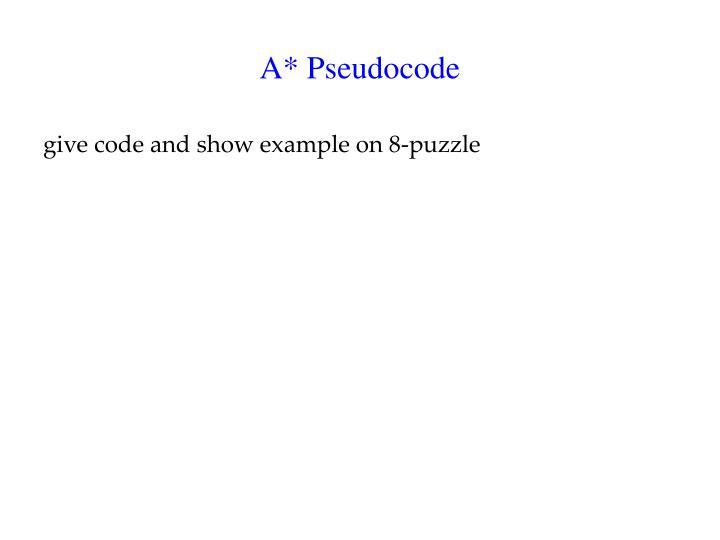 A* Pseudocode